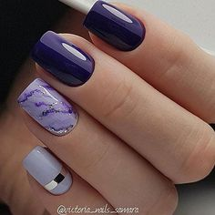 Purple and lavender nails with marbling and silver accents. Purple Nail Art, Purple Nail Designs, New Nail Designs, Purple And Silver Nails, Ongles Gel Violet, Violet Nails, Fun Nails, Pretty Nails, Nail Deco