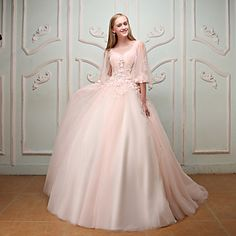Formal+Evening+Wedding+Party+Dress+-+Elegant+Lace-up+Ball+Gown+Jewel+Court+Train+Lace+Satin+Tulle+with+Beading+Embroidery+–+USD+$+349.99