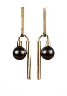 """Cast Brass 10mm Stone: Hematite (grayish/ black) or Rose Quartz (pink) 2 1/6 """" Length x 1/2"""" width Silver Posts and Backs Hand Made in NYC  Please allow 2 days for delivery. All sales final."""