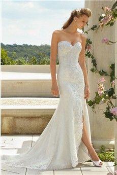 Trumpet/Mermaid Strapless Sweetheart Court Train Lace Wedding Dress