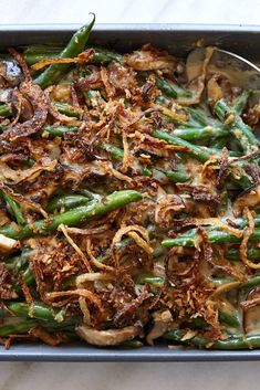 Lemony Whipped Feta With Charred Scallions Recipe - NYT Cooking Thanksgiving Side Dishes, Thanksgiving Recipes, Thanksgiving Green Beans, Thanksgiving 2020, Greenbean Casserole Recipe, Casserole Recipes, Homemade Green Bean Casserole, Whipped Feta, Side Dish Recipes