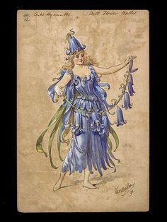 Costume design by Wilhelm (Charles William Pitcher, 1858-1925) for 12 Wild Hyacinths in the Bell Flower Ballet in the pantomime Dick Whittington as performed at Crystal Palace on 24th December 1890. (via Victoria & Albert Museum)
