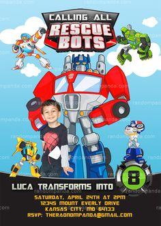 Personalize Rescue Bots Invitation, Transformers Party, Rescue Bots Birthday Invite