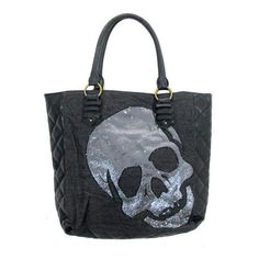 Loungefly Black Sequin Sugar Skull Tote Bag Purse Satchel Faux Leather Gothic