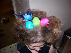 My daughter loves doing crazy hair day at school.  This is a birds nest.