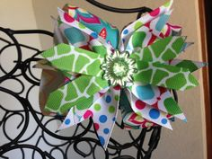 Boutique Style Hair Bow in Blue Pink Green by MommaNeedsaBreak, $8.00