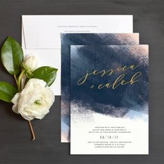 Modern Brushstroke Wedding Invitations by Jennie Hake | Elli …