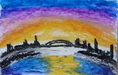 Skyline Sunrise by Darla Vaughan Original Oil Pastel Fine Art Painting Mountain Drawing Landscape Inspirations Fall tranquility by LoveStreetUSA on Etsy