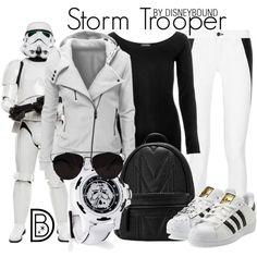 Storm Trooper by leslieakay on Polyvore featuring River Island, rag & bone, adidas Originals, Retrò, Trilogy, disney, disneybound, starwars and disneycharacter