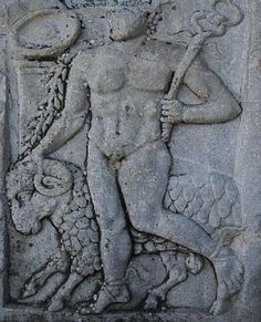 The Mythology of Hermes [Guider of the Ram (sun) with pillar and Firmament/Heavens in the background, winged feet and Gordian knot in the caduceus]