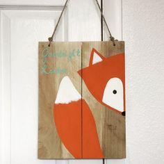 Gute Nacht fox clevere kleine Fuchs hängenden Schilder, Kindergarten anmelden, Fuchs Dekor, Fuchs-Palette, Wald Tier, Waldland Kinderzimmer, Kinderzimmer Dekor baby