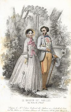 "Le Magasin des Familles Fashion Plate - 1850 - """"LOVERS TAKING WALK"""" - H-C Lithograph"