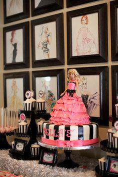 "Cute cake idea. She insists the cake have a ""Barbie with her face on"" and not just the silhouette lol"