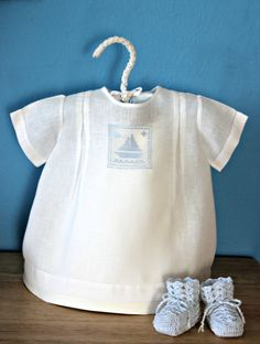 Sail Boat White Shirt  for Baby Boy  36 months  by VintageJoint