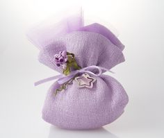 Lavender:  Small raw silk sachet with veil lining, filled with almond confetti candies and soft filling, hand made flower composition, silk and organza ribbon, unique Silver pendant.