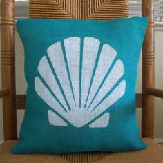 Shell pillow cover, Beach pillow cover, Nautical pillow, Burlap pillow, Sea shell stenciled pillow, Turquoise pillow, FREE SHIPPING! by KelleysCollections on Etsy https://www.etsy.com/listing/463969825/shell-pillow-cover-beach-pillow-cover