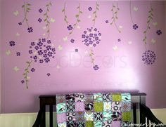 Girls Floral Wall Decal Butterflies Sticker - Flower Vines and Butterflies - Free Squeegee and Color Change - Baby Nursery Wall Vinyls