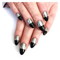This metallurgic chrome manicure gets an edgy update with black polish.