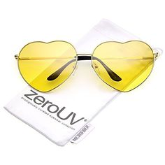 a3114f5d47b zeroUV - Oversize Thin Metal Arms Colored Lens Heart Sunglasses 70mm (Gold    Yellow)