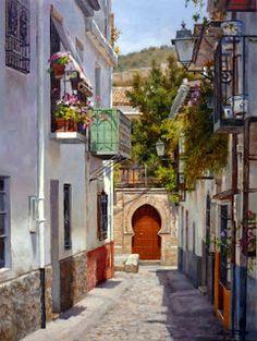 Titulo: Calle Charca (Granada).   Técnica: Óleo sobre tabla.   Tamaño: 61 x 46 cm.   Precio: 850 €. Andalusia Spain, Moorish, Painting Inspiration, Lovers Art, Watercolor Paintings, Beautiful Places, Street View, Pictures, Bistros