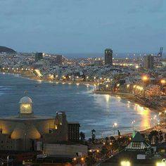 Las Canteras de noche en Las Palmas