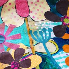 Colourful Big Blooms collage ~ julie hamilton designs {artistically afflicted blog}