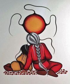 Resting with Granny/Nooko's Blessing acrylic on watercolor paper by Simone McLeod Native American Paintings, Native American Artists, Indian Paintings, Art Paintings, Abstract Paintings, Inuit Art, Southwest Art, American Indian Art, Indigenous Art
