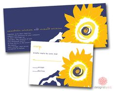 Blue and Yellow Sunflower Invitations