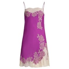 Carine Gilson Lace-trimmed silk-satin cami dress ($1,335) ❤ liked on Polyvore featuring dresses, purple, purple cami, floral embroidery dress, floral camisole, floral cami and embroidered dress