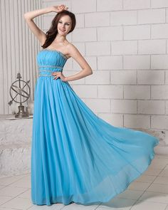 Blue Floor-Length Strapless Chiffon A-Line Dress With Crystal Affordable Formal Dresses, Formal Dresses For Women, Dresses For Sale, A Line Prom Dresses, Strapless Dress Formal, Maxi Dresses, Formal Prom, Formal Wear, Dress Outfits
