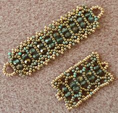 "I just made two samples of LiriGal's unnamed pattern and Michelle Skobel's ""Stacked Sparkle"" (aka "" Doubled Crystal Cuffed Bracelet "") pat..."
