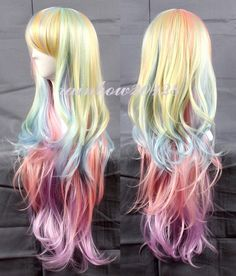 "32"" Multi-Color Mixed Rainbow  Lolita Big Wavy Curly Long Anime Cosplay Wig #Rainbow #FullWig"