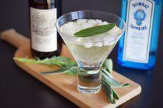 Cider & Sage Cocktail - Hard Cider (Preferably Hopped), Gin, Sage Syrup (Recipe Included), Sage Leaves Cider Cocktails, Syrup, Gin, Sage, Leaves, Dessert, Ethnic Recipes, Food, Drinking