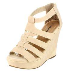 #cute Top Moda Womens Lindy-50 Strappy Open Toe Wedge Sandals,Beige,9