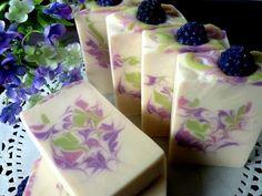 Homemade Natural Soap - Reverse Feather Swirl - Lavender Mint Coconut Milk Soap - YouTube