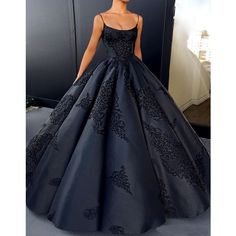 Yuxin Backless Evening Dresses Ball Gown Plus Size Lace Appliques Sexy Prom Dress Long Satin Formal Black Gowns 2017 * To view further for this item, visit the image link. (This is an affiliate link) #LongPromDresses