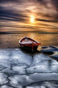Boat on the icy lake  // Premium Canvas Prints & Posters // www.palaceprints.com // STORE NOW ONLINE!