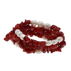DaVonna White Baroque FW Pearls and Red Coral 5 Stretch Bracelets Set