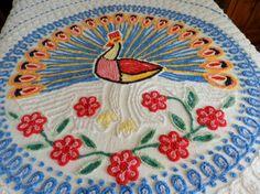 Vintage Full Blue & White Peacock Chenille Bedspread