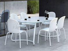 Zestaw mebli do ogrodu - owalny stół LOTO 190 cm + 6 krzeseł NINFEA Dinner - #mebleogrodowe #ogród #mebledoogrodu #zestawmebliogrodowych #działka #ogródek #taras #wypoczynek #balkon #meblenataras #nowoczesnemeble #białemeble #stół #krzesła Showroom, Outdoor Furniture Sets, Outdoor Decor, Interior Exterior, Dining Table, Dinner, Design, Home Decor, Dining Room