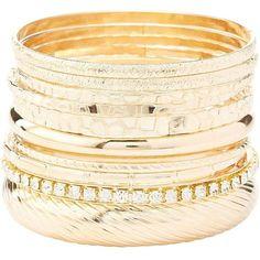 Charlotte Russe Rhinestone & Textured Bangle Bracelets - 10 Pack ($6) ❤ liked on Polyvore featuring jewelry, bracelets, gold, hinged bracelet, charlotte russe jewelry, bracelets bangle, rhinestone bangle bracelet and rhinestone bangle
