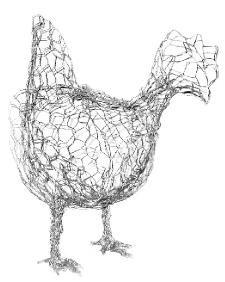 Chicken George.com wire sculpture