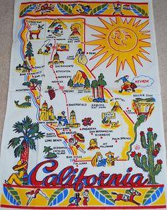 California state map + sunshine + palm tree + cactus [tea towel]