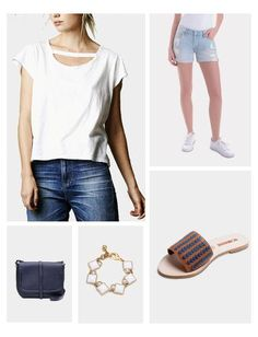 The Short Sleeve Maya tee from LNA is stylish twist on the basic tee. This soft, short-sleeve tee features a scoop neckline with a cut fabric strip. Wear this on the weekend with denim and your favorite slide sandal.
