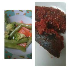 Veggie salad n fish balado (chili,tomato,onion) #my breakfast
