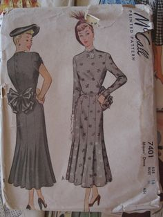 Vintage Sewing Pattern 1940s Bow Dress