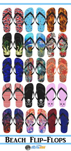Check out the variety of Summer Flip-Flops for Men and Women! *Waterproof and Lightweight. Durable and non-toxic. Comfortable and Anti-slip.  *Suitable for shower,swimming,soft to wear and wash. This is just a sample of what is available at Artsadd. Click through to see  the full line!