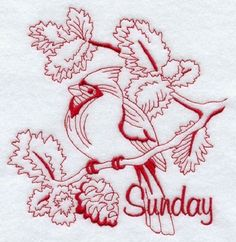 EMBROIDERED-FLOUR-SACK-DISH-TOWEL-BACKYARD-BIRDS-IN-REDWORK
