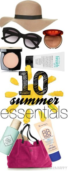10 Summer Essentials.  Must haves for Summer.  What's in your Summer Bag? www.madewithHAPPY.com