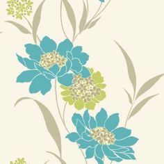 K2 vintage feature wallpaper lime cream 10581 at hallway pinterest feature - Teal wallpaper wilkinsons ...